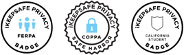 Distintivos de iKeepSafe Ferpa, COPPA Safe Harbor y California Student